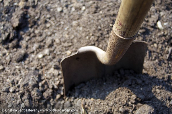 shovel in compost pile